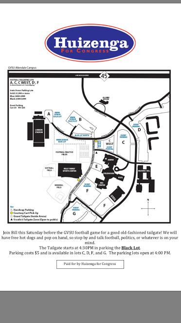 Gvsu Campus Map 2016.Gvsu Football Tailgate With Bill On Saturday Huizenga For